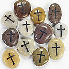 Cross Engraved Worry Stone Set