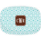 Cameron Teal Monogram Serving Platter