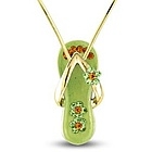 Peridot Green Flower Strap Flip Flop Necklace in Gold Plate