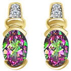 0.04cts Diamond and 1.62cts Mystic Green Topaz Earrings