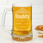 Date Established Personalized Deep Etch Beer Mug
