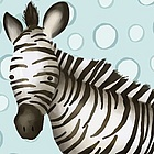 Timmy the Zebra Powder Blue Wall Art Canvas