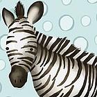 Timmy the Zebra Powder Blue Wall Art Canvas