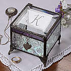 Personalized Vintage Glass Trinket Box with Initial