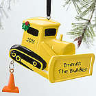Bulldozer Personalized Christmas Ornament