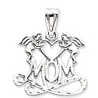 14k White Gold Classic Two Angels 'Mom' Pendant