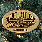 Engraved Wrestling Wooden Oval Ornament