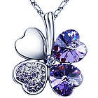 18K Gold Plated Swarovski Crystal Four Leaf Purple Clover Pendant
