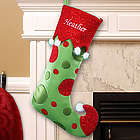Embroidered Polka Dot Christmas Stocking
