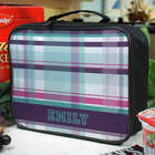 Personalized Purple Plaid Lunch Tote