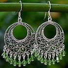 Moroccan Mint Sterling Silver Chandelier Earrings