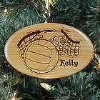 Engraved Volleyball Wooden Oval Ornament