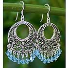 'Moroccan Freeze' Sterling Silver Chandelier Earrings