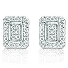 14k White Gold Diamond Deco Style Button Earrings