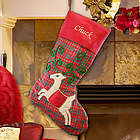 Personalized Plaid Satin Reindeer Christmas Stocking