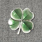 Green Enamel Four Leaf Clover Lapel Pin