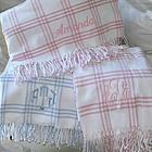 Personalized Windowpane Check Flannel Blanket