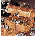 Wooden Treasure Chest with 51 Historic Coins
