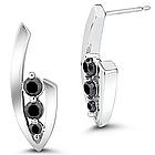 Black Diamond Three-Stone Earrings in 14K White Gold
