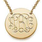 18 Karat Gold Plated Monogram Disc Necklace