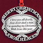 Personalized Merry Christmas from Heaven Ornament