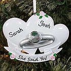 Personalized Couples' Engagement Ring Ornament