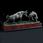 Fighting Wall Street Bull and Bear Desk Statue