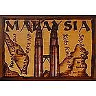 Malaysia Map Leather Photo Album in Natural
