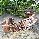 Bear Design Rustic Copper Cuff Bracelet