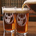 Personalized Big Buck Design Two Pint Glass Set