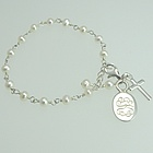 Freshwater Pearl Child's Bracelet with Engraved Charm and Cross