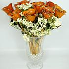 "One Dozen 11"" Orange Rose Splendor Bouquet"