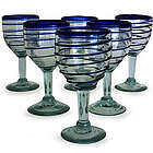 Tall Cobalt Spiral Wine Glass Set