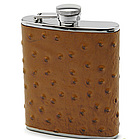 Brown Ostrich Leather Flask