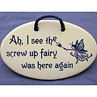 Screw Up Fairy Ceramic Wall Plaque