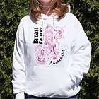 Breast Cancer Awareness Pink Scroll Hooded Sweatshirt