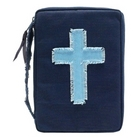 Blue Canvas Bible Cover with Frayed Cross