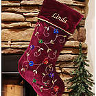 Sequin Flower Embroidered Burgundy Christmas Stocking