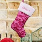 Embroidered Pink Camo Christmas Stocking
