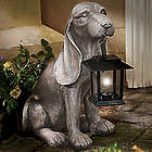 Hound Dog Statue with Solar Lantern