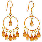 18K Gold Citrine Briolette Circle Earrings