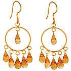 18K Gold Citrine Briolette Circle Earrings