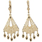 14k Gold Filigree Design Chandelier Earrings with Leverbacks