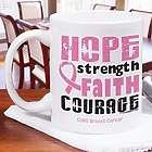 Breast Cancer Awareness Hope Strength Faith Courage Mug