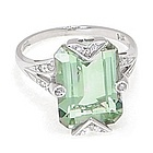 14k White Gold Green Amethyst Ring with Diamonds