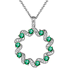 1/3 Ct Diamond & Emerald Circle Pendant in 14K White Gold