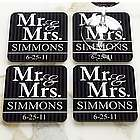 Personalized Mr and Mrs Wedding Coaster Set