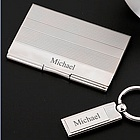 Engravable Card Case and Key Ring Gift Set