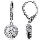 5.5 Carat CZ Sterling Silver Flower Dangle Leverback Earrings