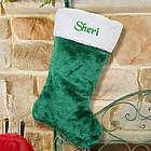 Green Plush Embroidered Christmas Stocking